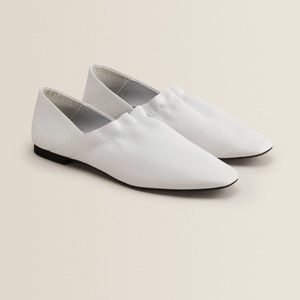 ZARA White Leather Babouches with Ruffle Trim
